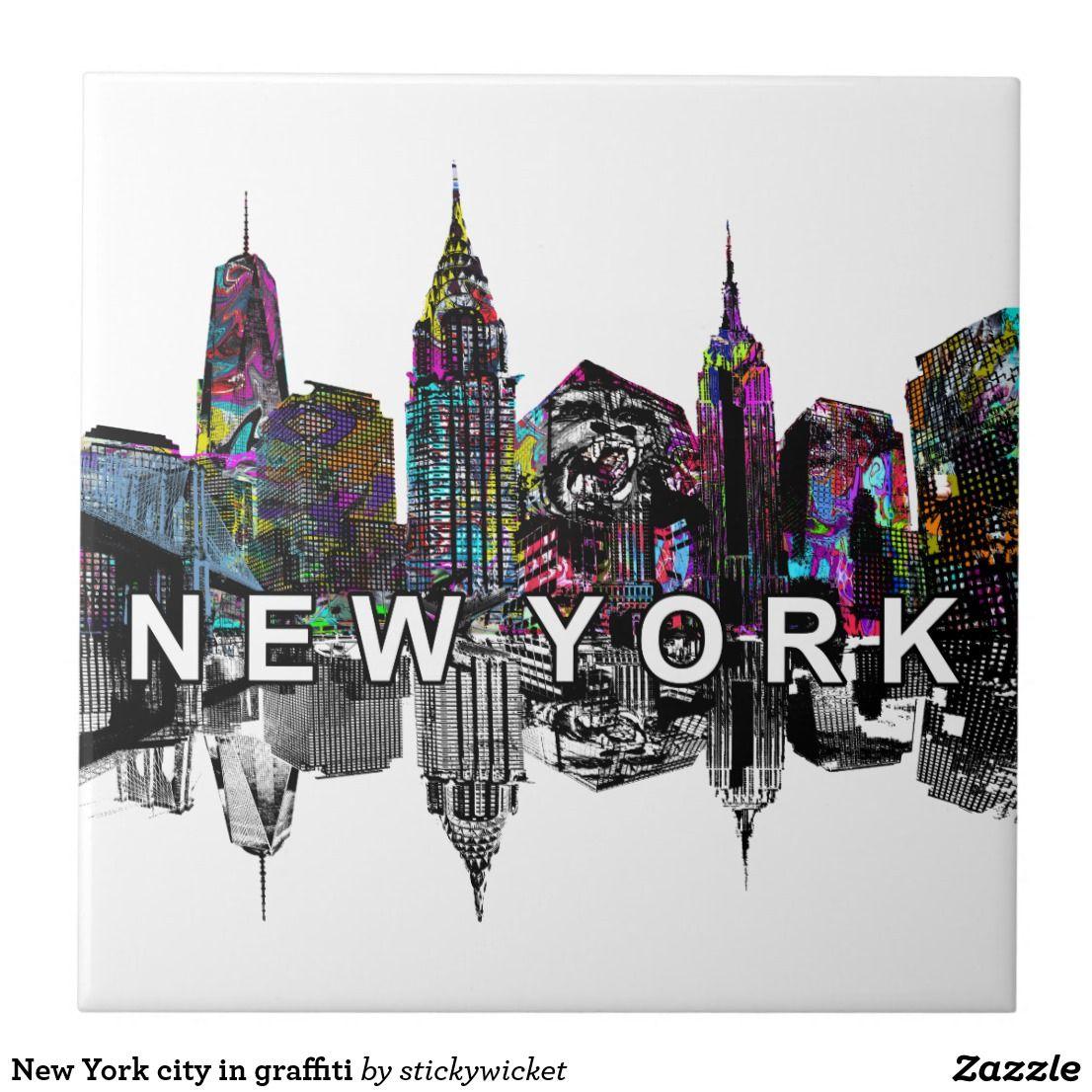 New York City In Graffiti Ceramic Tile Zazzle Com New York Graffiti Graffiti Graffiti Wall Art
