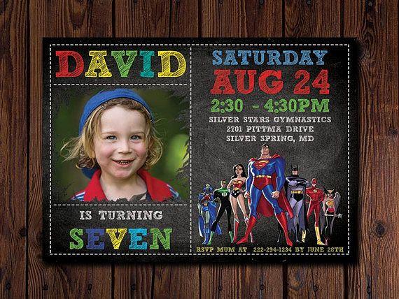 Justice League Invitation Superhero Birthday