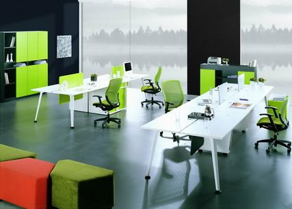 Green Office Chairs And White Staff Desks In Modern Furniture Design Ideas
