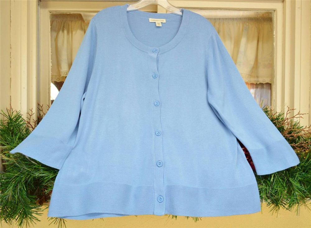 Coldwater Creek Scoop Neck Cardigan Sweater XL(18) Baby Powder ...