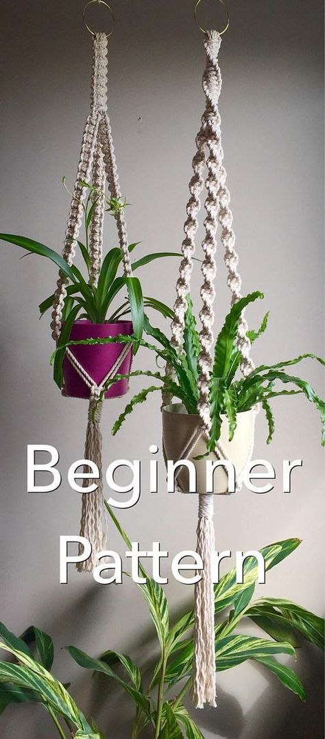 TRINITY Macramé Pattern BEGINNER//Plant Hanger pdf DIY 4 Variations Short Long Square or Spiral Knot Crafter Makers Tutorial