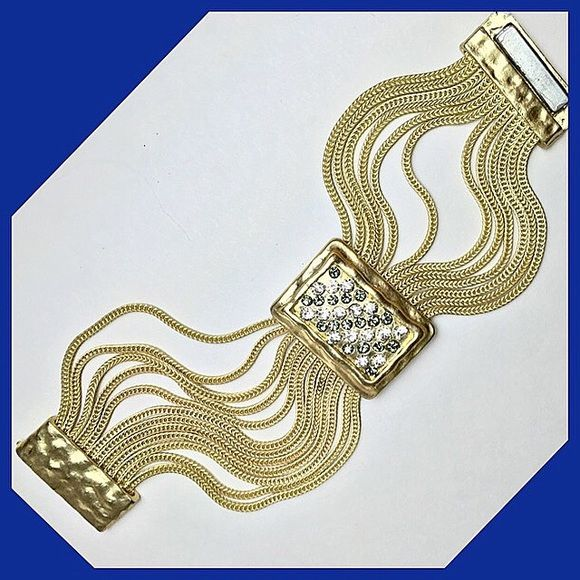 Stylish Goldtone Statement Bracelet Magnetic clasp statement piece. Boutique Jewelry Bracelets
