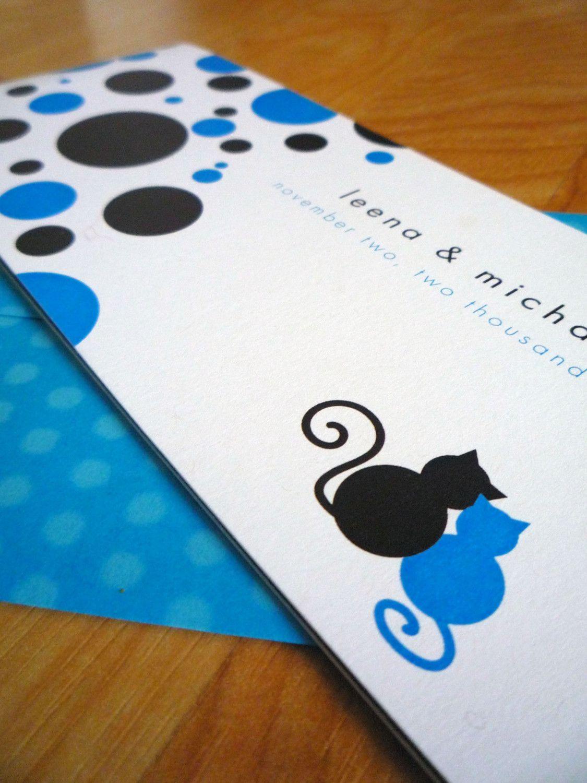 Marvelously Mod Cats w Polkadots Wedding Invitations Cats