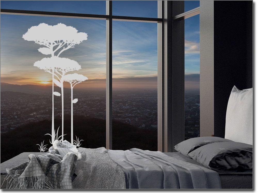 Milchige Glasfolie Mit Savannen Baum