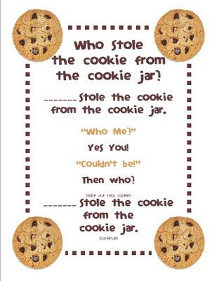 Who Took The Cookie From The Cookie Jar Book Great For Beginning Of The Yearcould Make A Class Book With