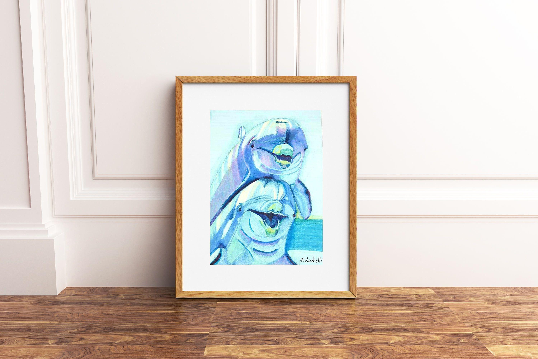 Cerco Cameretta A Ponte In Regalo.Illustrazione Delfini Cornice Disegno Originale Pronto Da