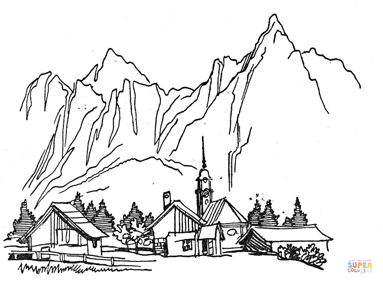 village-in-the-mountains-coloring-page.png (750×555) | Coloring ...