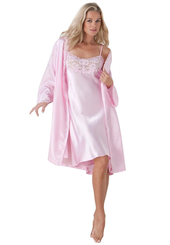 Short satin peignoir set by Amoureuse® | Plus Size Sleep Gowns ...