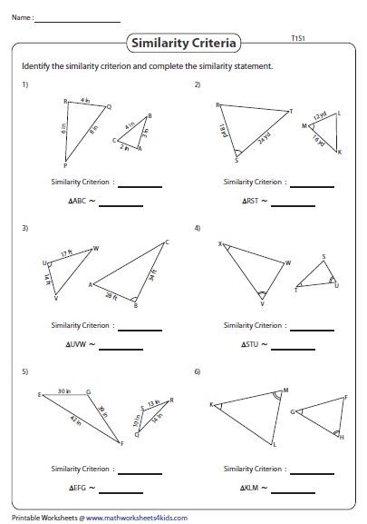 Similar Triangles Sss Sas And Aa Type 1 Triangle Worksheet Similar Triangles Worksheets