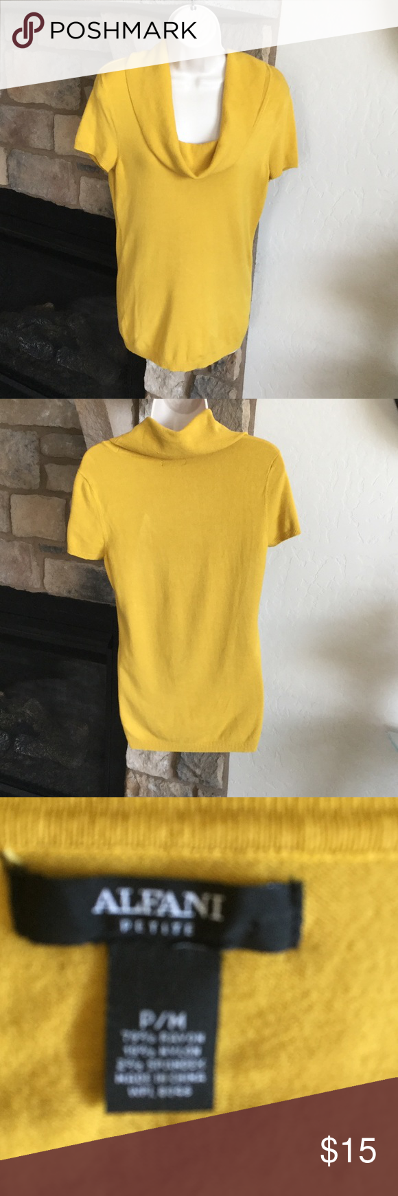 Alfani Cowl Neck Sweater   Cowl neck, Mustard and Short sleeves