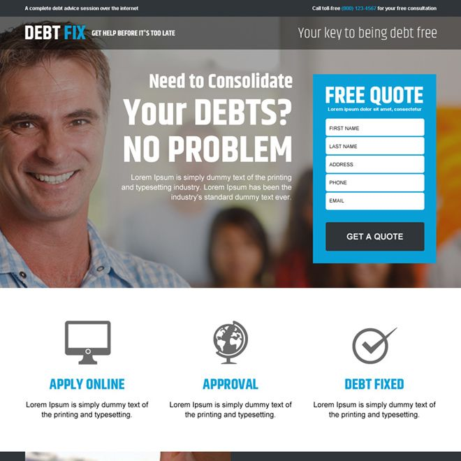 Responsive Debt Relief Or Debt Settlement Business Landing Page Design Templates For Sale Landing Page Design Landing Page Page Design