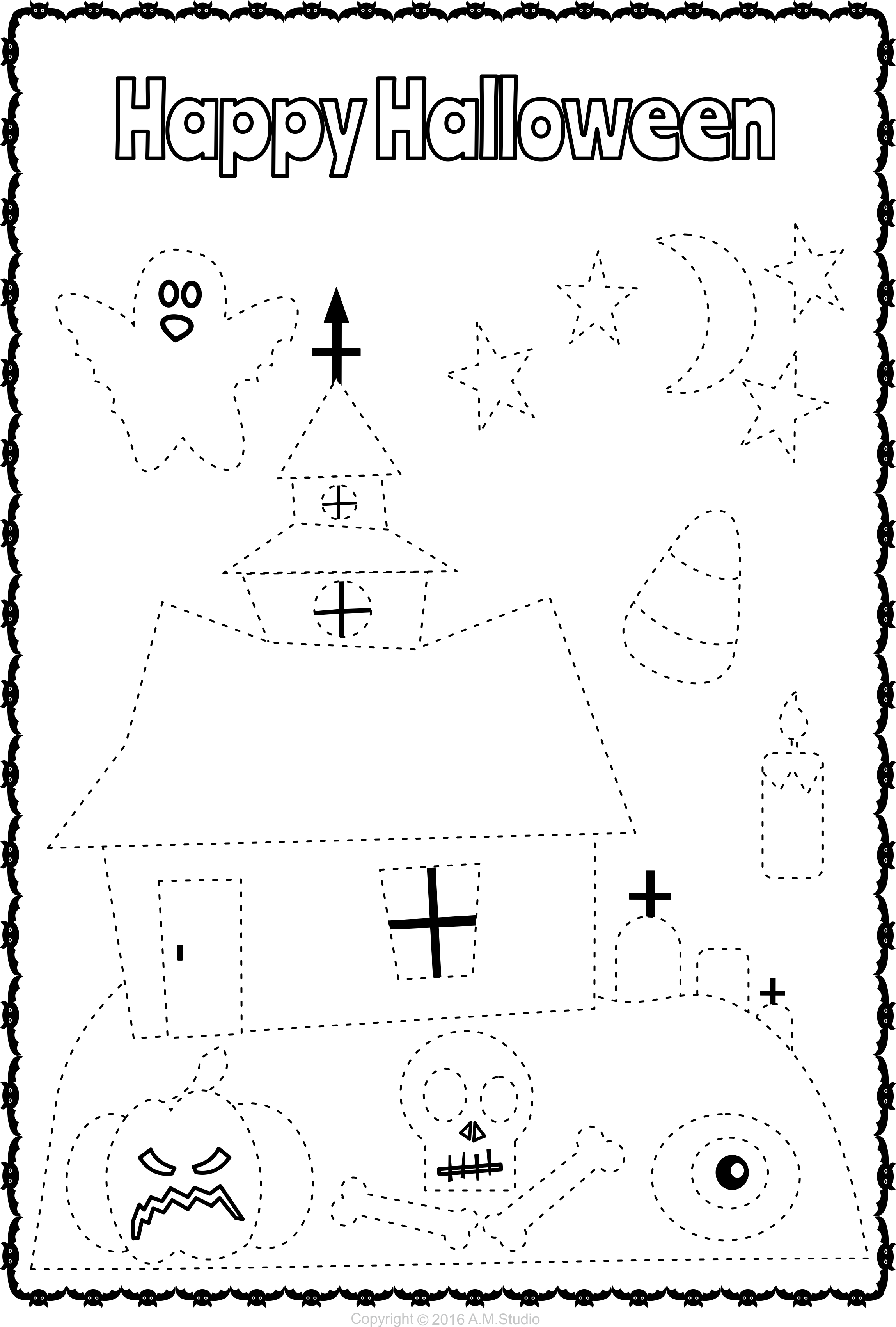 13 Halloween Themed Trace And Color Pages For Kids Halloween Craft Activities Halloween Worksheets Easy Halloween Crafts [ 3400 x 2297 Pixel ]