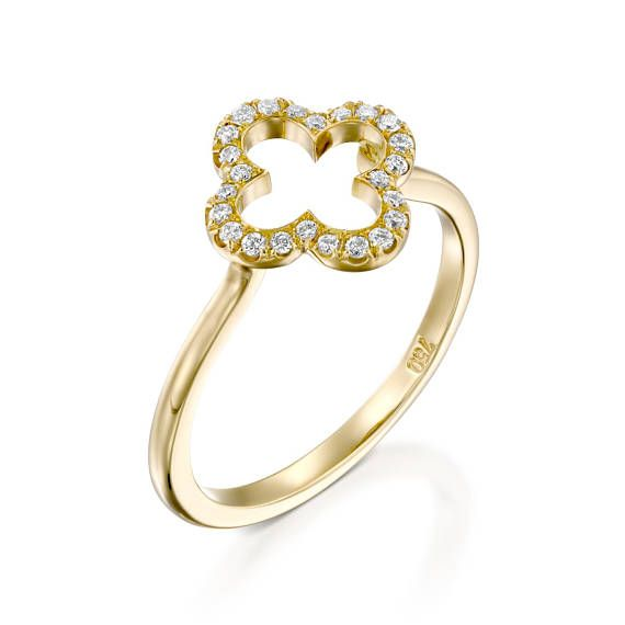 Flower engagement ring 18k Yellow Gold Clover Diamond Ring Lucky
