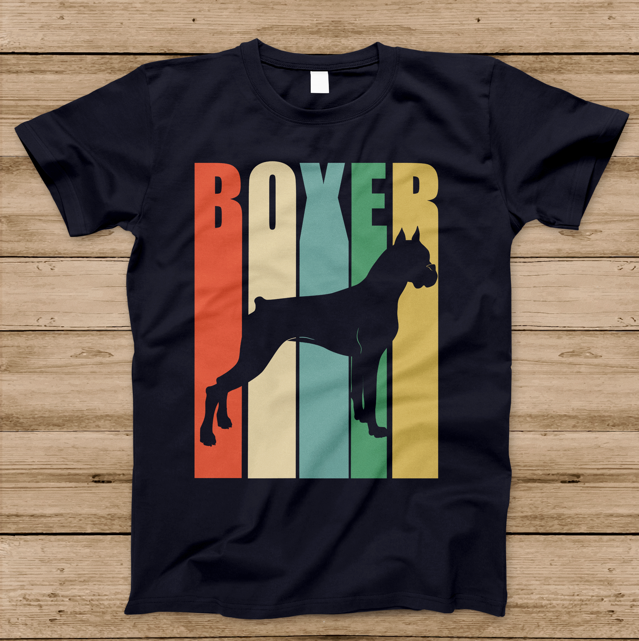 Boxer Dog T Shirts Boxer Dog Vintage Rainbow Style Silhouette T