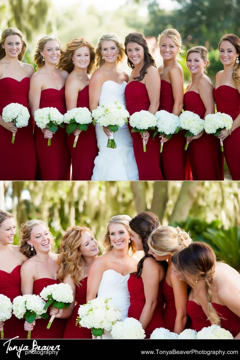 Red bridesmaid dresses with white hydragenas as bridesmaids red bridesmaid dresses with white hydragenas as bridesmaids bouquets a classic and stunning look tonya beaver wedding photography ponte vedra beach ombrellifo Image collections