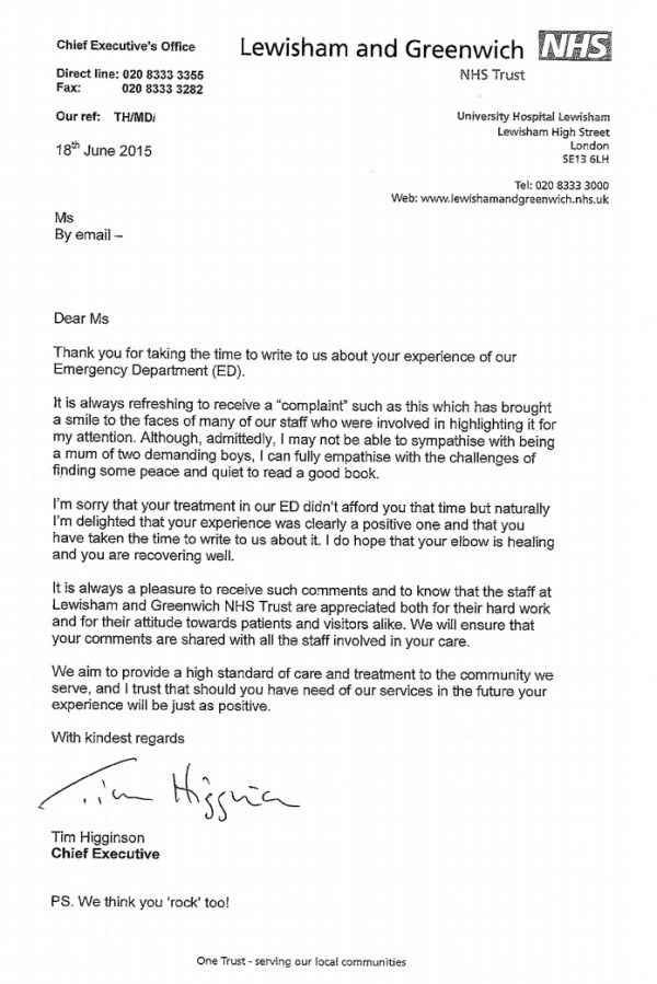 This Woman Wrote To The Nhs To Complain About Its Brilliant Service After Breaking Her Elbow Business Letter Template Good Essay Cover Letter Sample