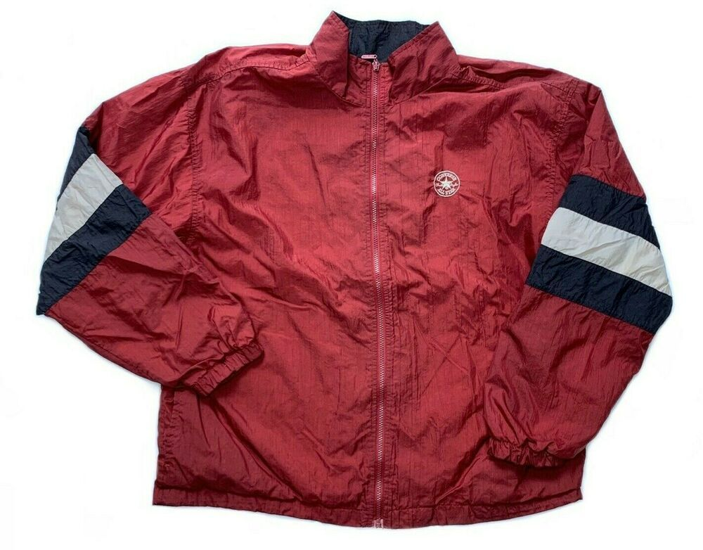 Converse All Star Windbreaker Vintage 90s Color Block Zip Up Jacket Men S Xl Converse Windbreaker Casual In 2020 Windbreaker Mens Jackets Mens Xl