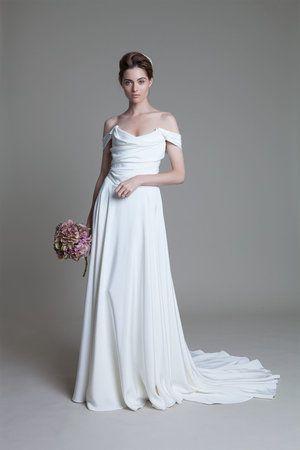 charlotte silk crepe corset wedding dress with full circle