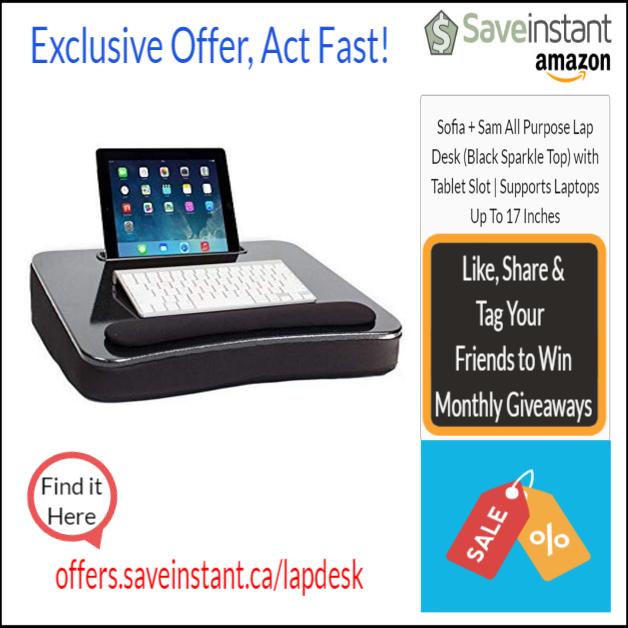 7a3569a2754e Sofia + Sam All Purpose Lap Desk (Black Sparkle Top) with Tablet ...
