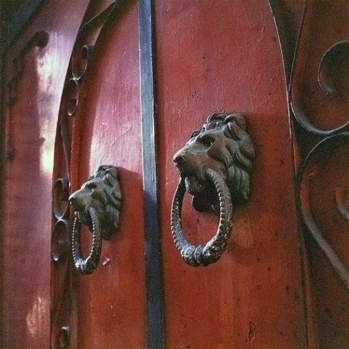 Lion door knockers in Taipei.