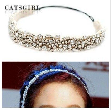 2014 NEW fashion Rhinestone beads and   lace design   elastic hairband headband  Retail  hair accessory  1 pcs $8.00