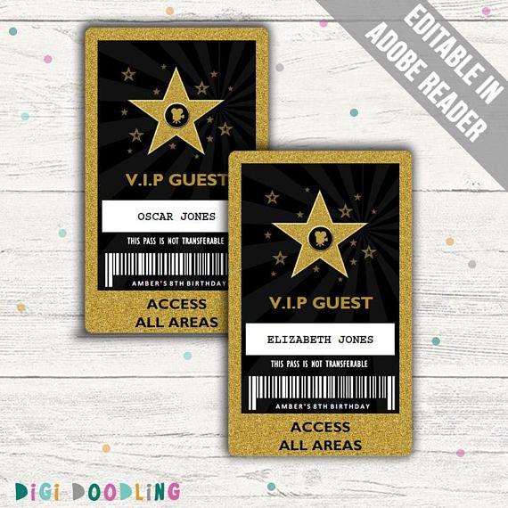Hollywood Party Vip Pass Hollywood Vip Badge Editable
