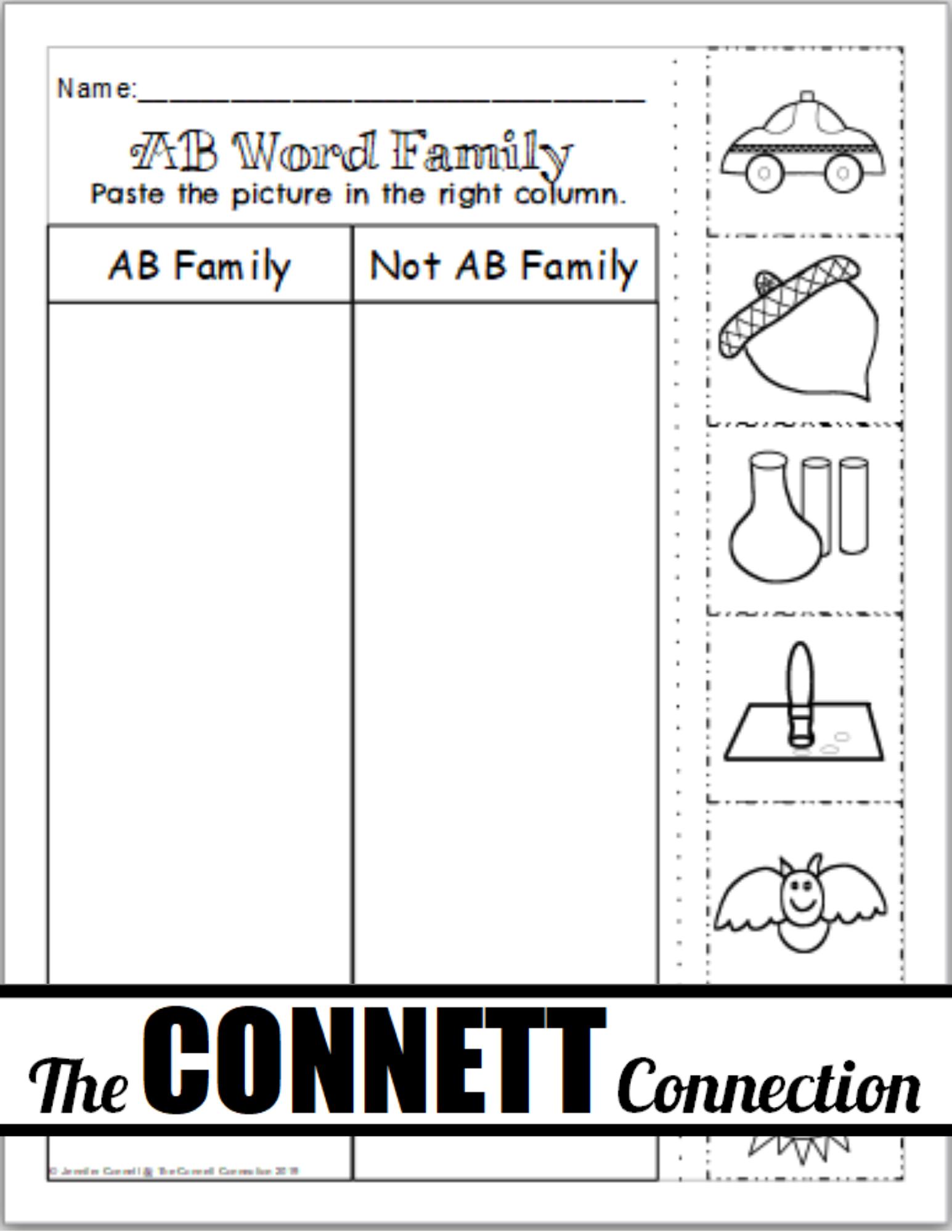 Ab Word Family Fun Sheets