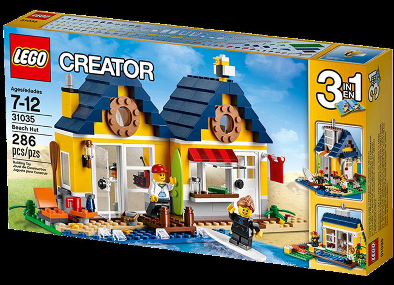 LEGO CREATOR 31035 Strandhytte Så skal der surfes! Der er masser at lave i LEGOCreator 3 i 1-Strandhytte. Find søstjerner, hop i bølgen fra anløbsbroen, sejl ud og surf, eller prøv paddleboarding! Fold strandhytten ud, og få en strandbutik, hvor du kan tilbyde surfbrætter, surfingtimer og kolde, lækre drikkevarer. Dette superseje 3 i 1-sæt er fyldt med fantastiske detaljer og kan ombygges til en sej sommerhytte med udendørs swimmingpool eller et hyggeligt sommerhus ved havet â alt sammen i…