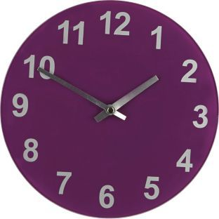 Colourmatch Purple Fizz Round Gl Wall Clock At Argos Co Uk Your Online For Clocks