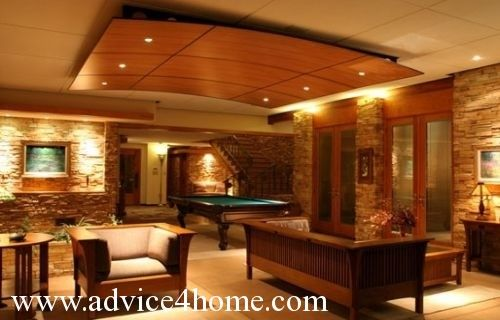 Gentil Ceiling Idea For The Basement Entertainment Area.