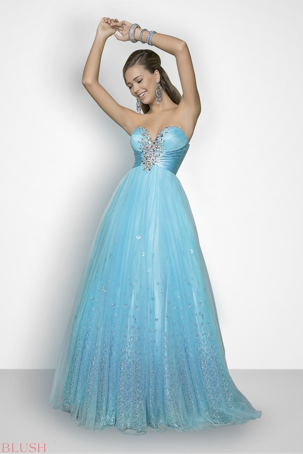 Beaded elegance in a dramatic prom dress! Stunning silver stones ...