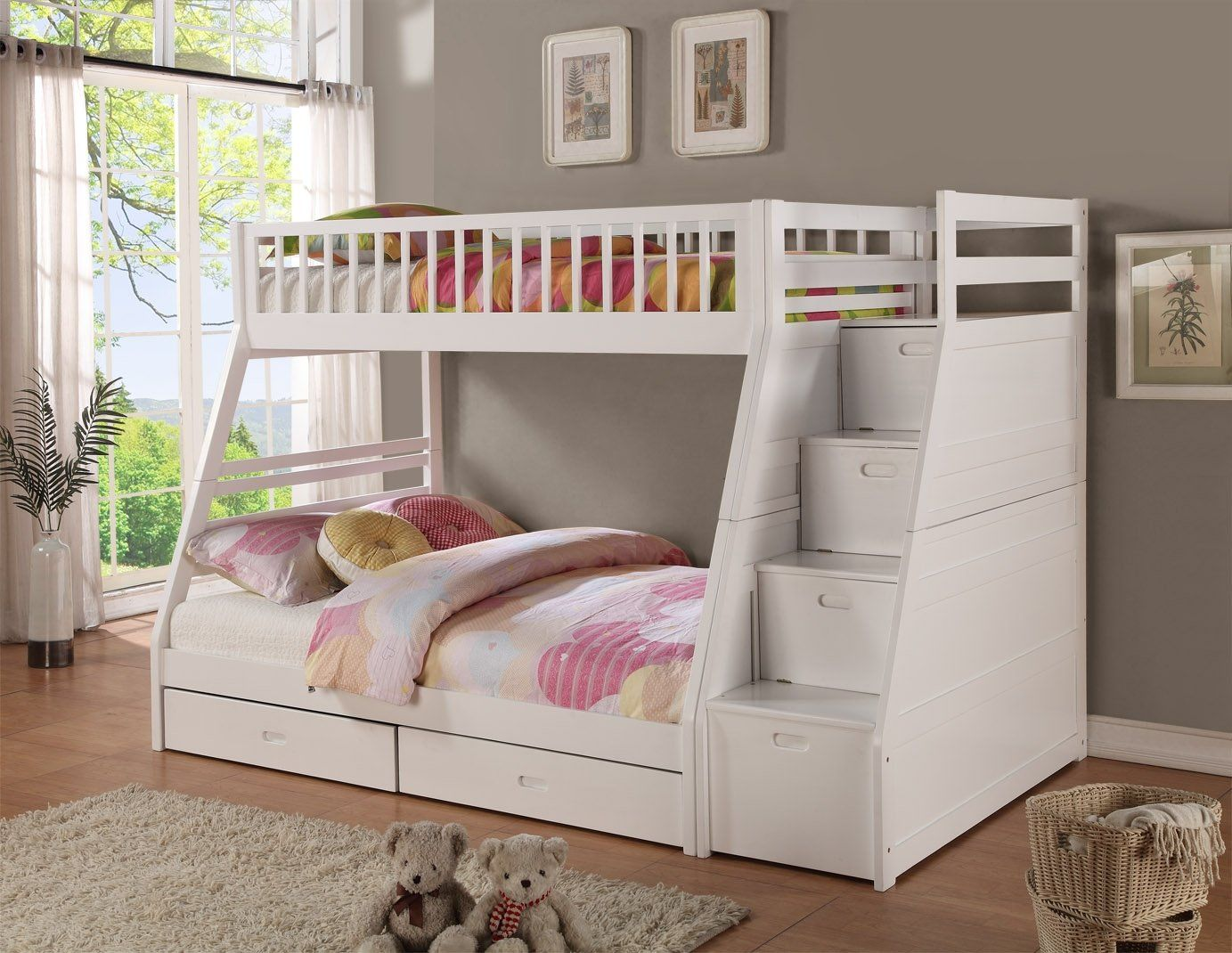 Amazon Com Twin Full Storage Step Bunk Bed 2 Drawers White Furniture Decor Bunk Beds With Storage White Bunk Beds Bunk Beds With Drawers