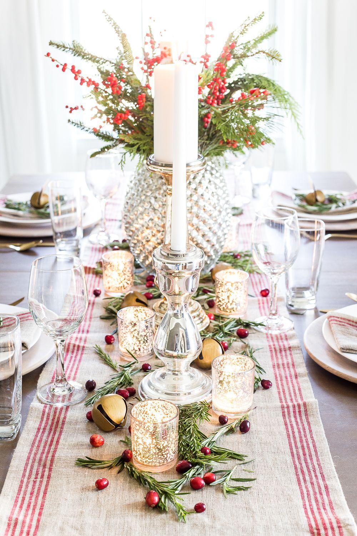 Mercury Glass Christmas Tablescape Christmas Table Settings