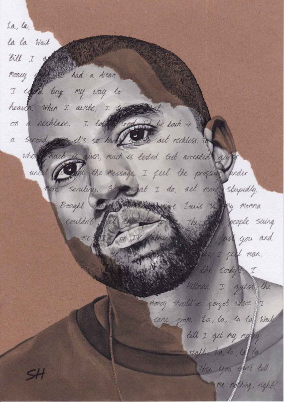 Kanye West ORIGINAL Portrait Drawing with Can't tell me ...