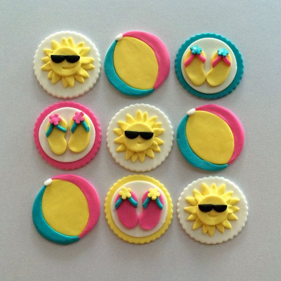 Summer Party Cupcake Toppers Fondant By MilkandHoneyCakery