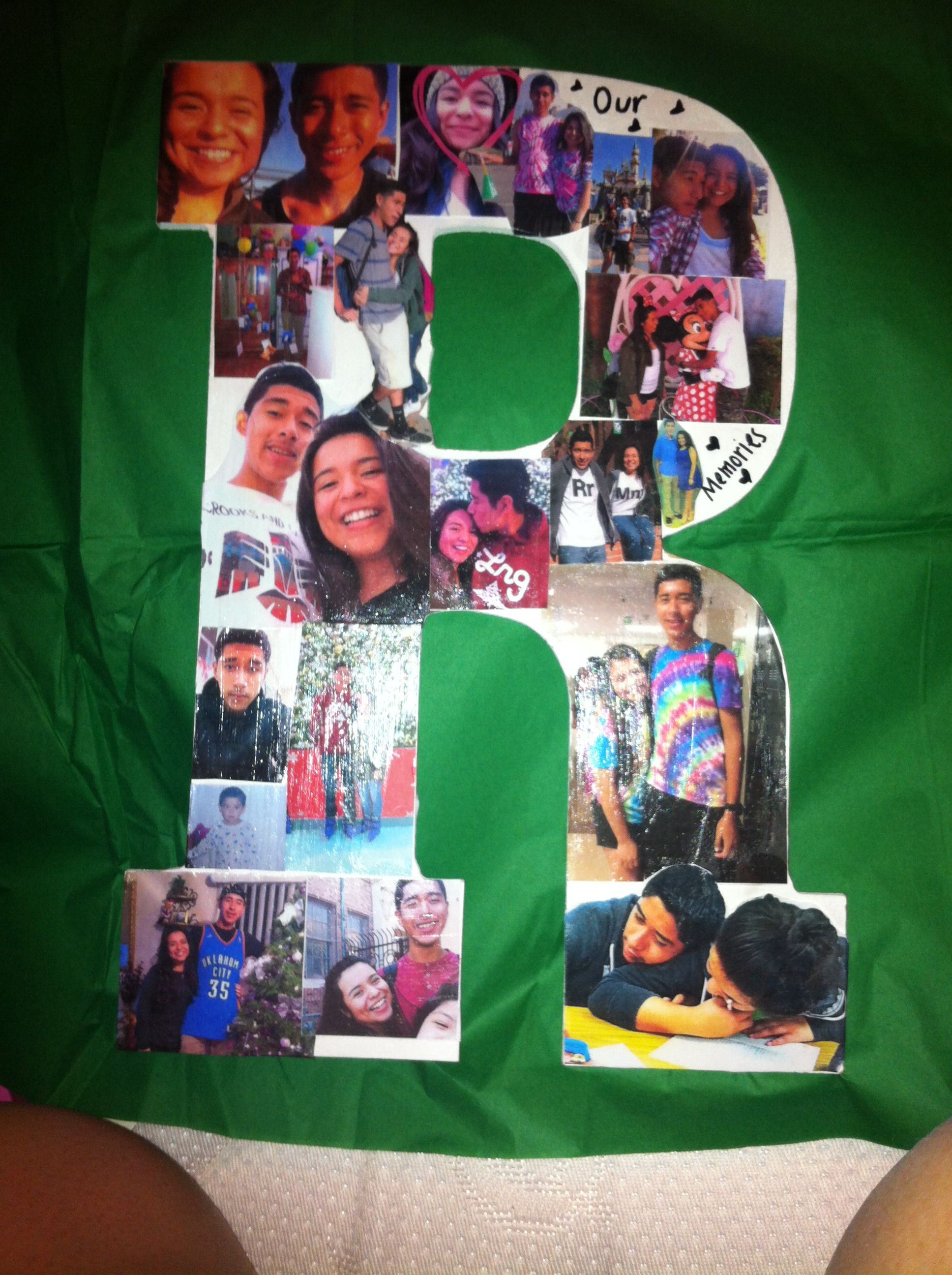 diy bf gift wood letter photo collage for anniversary birthdays he loved it