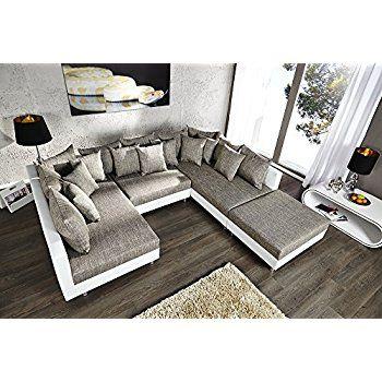 Großes Design Sofa LOFT XXL weiß grau Strukturstoff inklusive - küche aus paletten