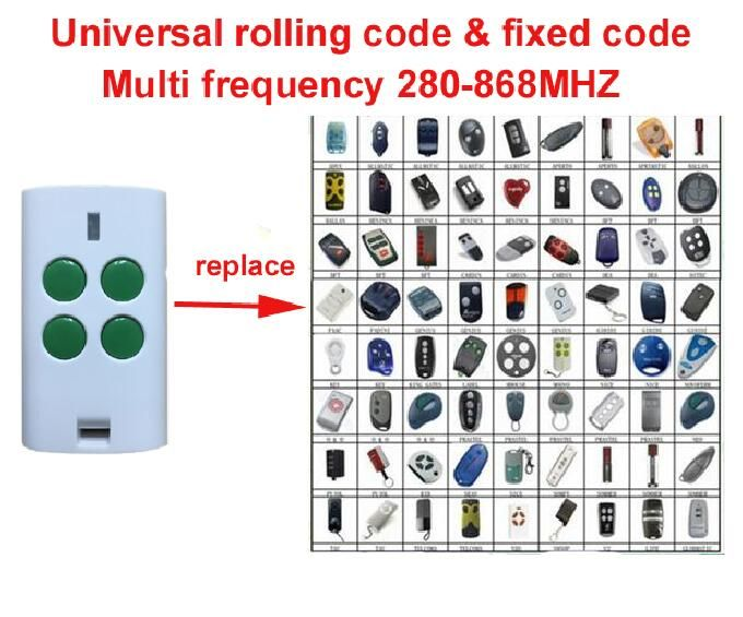 Universal Multi Frequency 280 868mhz 4 Button Key Fob Rolling Code Fixed Code Remote C Building Automation Garage Door Remote Control Garage Door Opener Remote
