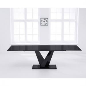 Blaine Extending Gl Dining Table In Black With Metal Base Extendable And Chairs Ebay Set