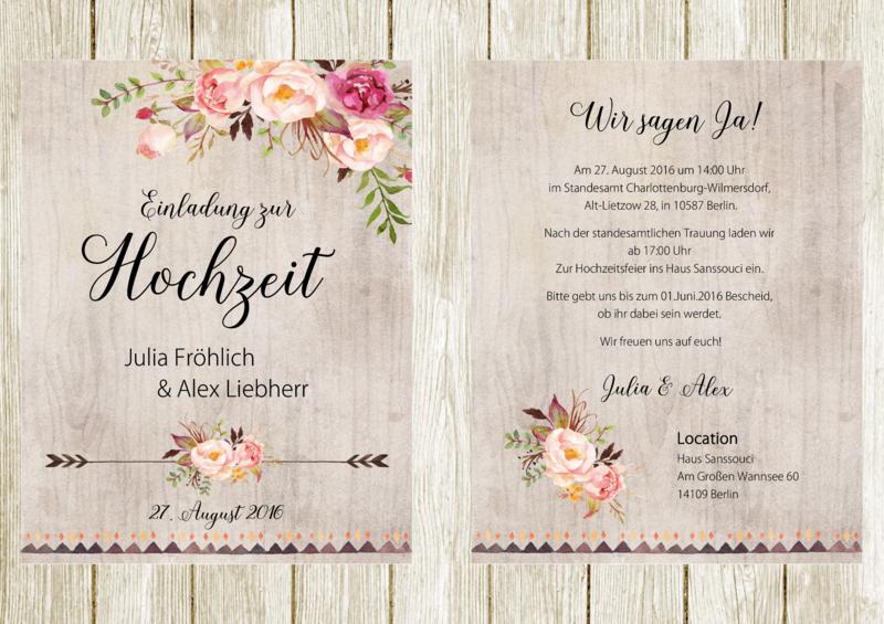 Einladungskarten - 50x Einladungskarten Hochzeit Boho