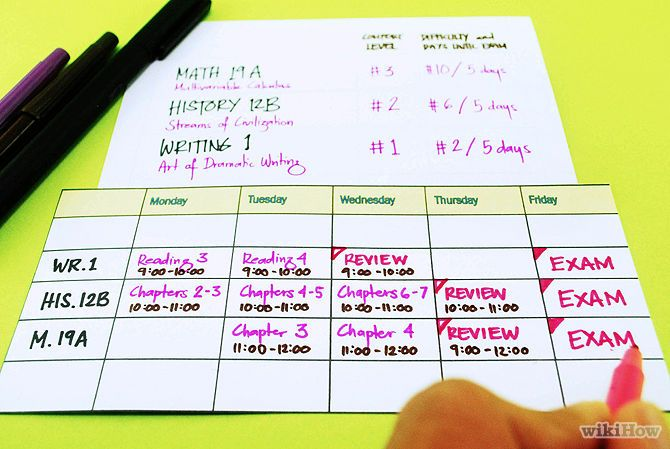 Create A Study Schedule  Study Schedule College And School