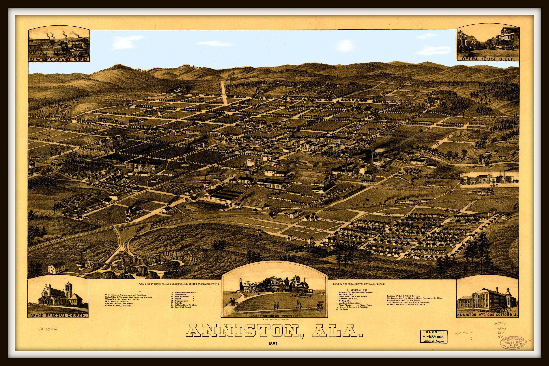 Anniston Al Panoramic Map Vintage Map Vintage Map Art Vintage