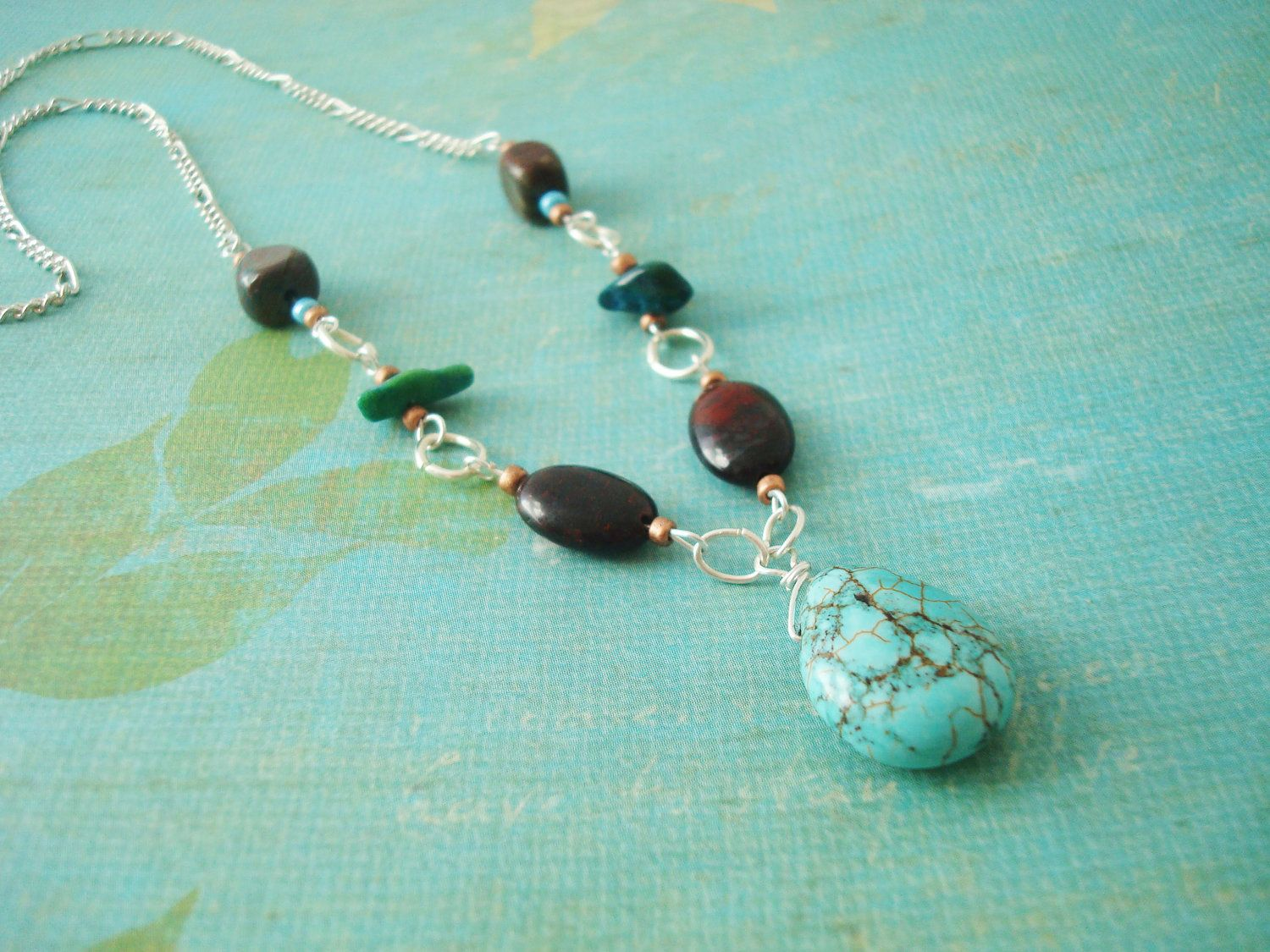 Sterling Silver Turquoise Teardrop Pendant Necklace. $24.00, via Etsy.