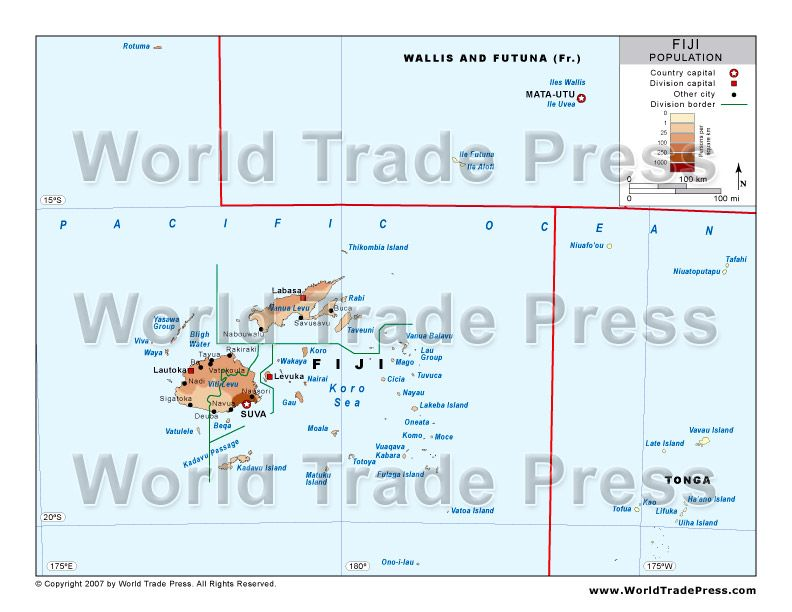 Population Density Map of Fiji MAPS Pinterest - new world map fiji country