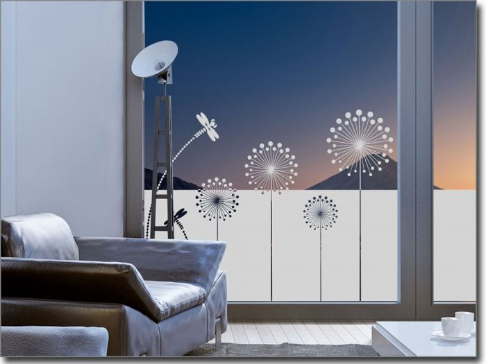sichtschutzfolie moderne pusteblume fenster folie deko fenster sichtschutz fenster und. Black Bedroom Furniture Sets. Home Design Ideas