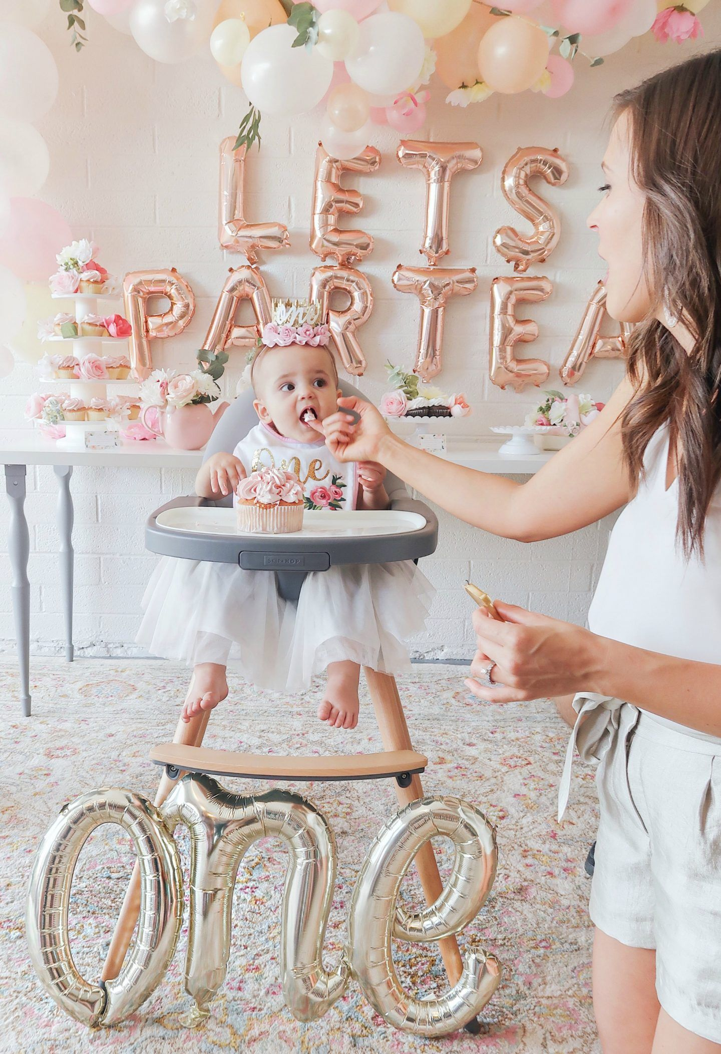 First Birthday Tea Party For Our Baby Girl Scottie Rose Florals Neutrals And Pink Girl Birthday Decorations 1st Birthday Party For Girls Tea Party Birthday
