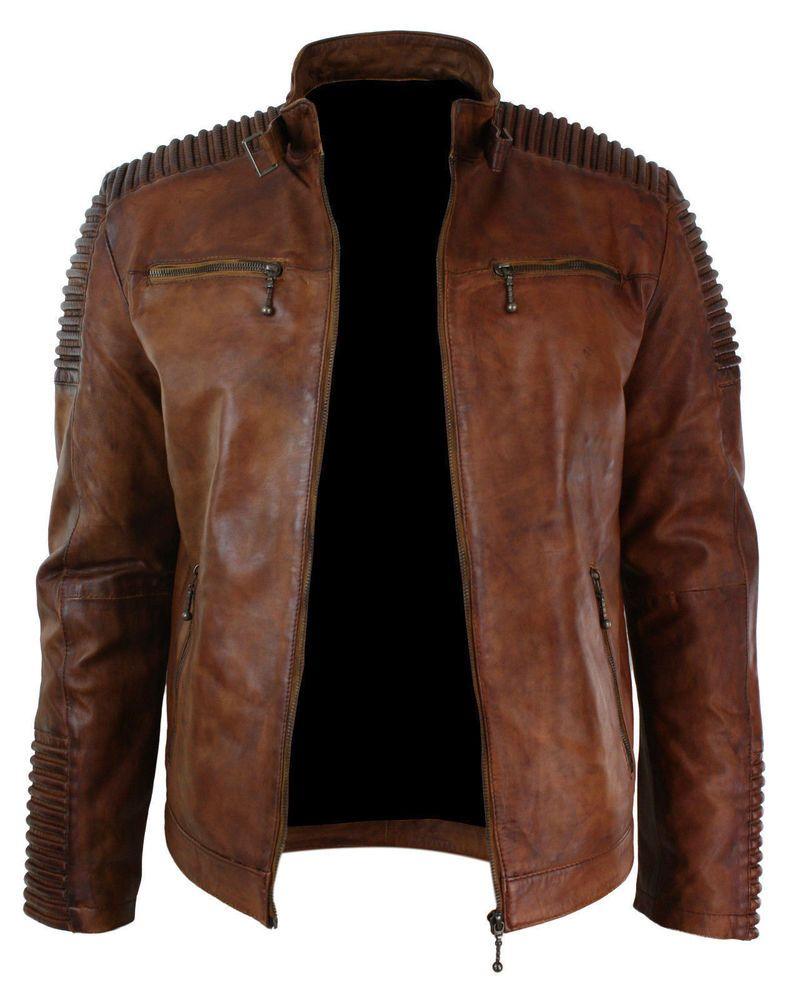 Mens Biker Vintage Motorcycle Distressed Brown Cafe Racer Leather Jacket Coat