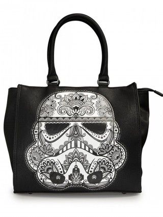 """Star Wars """"Stormtrooper"""" Applique Tote by Loungefly (Black/White) - 1"""