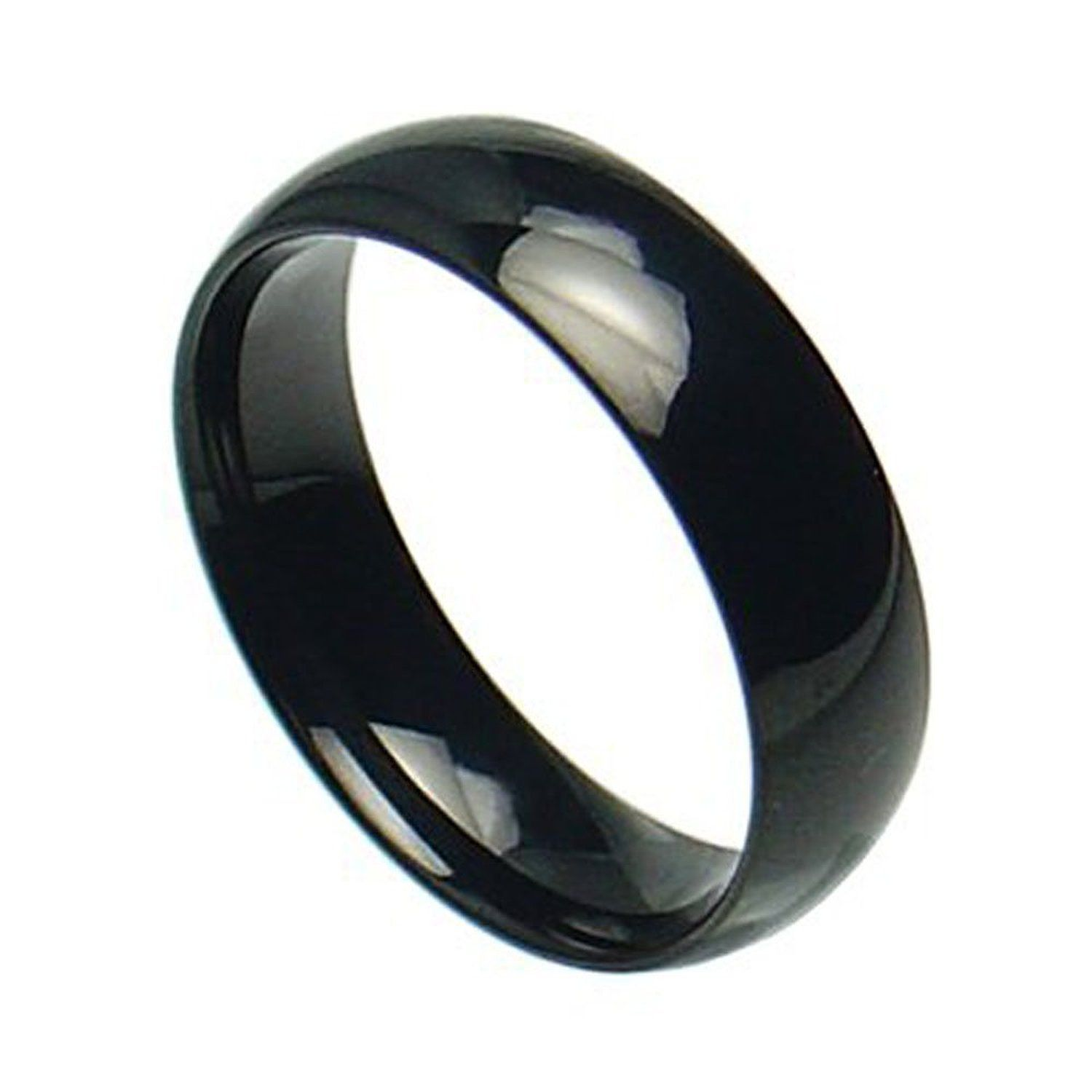 c7b91d7275b86 Stainless Steel Shiny Polished Black Plain Band Ring | Women's ...