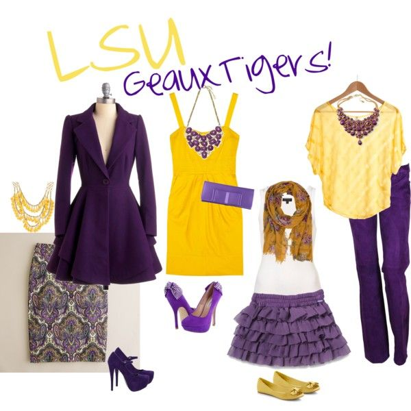 LSU Game Day Attire, created by hannah-rebecca on Polyvore